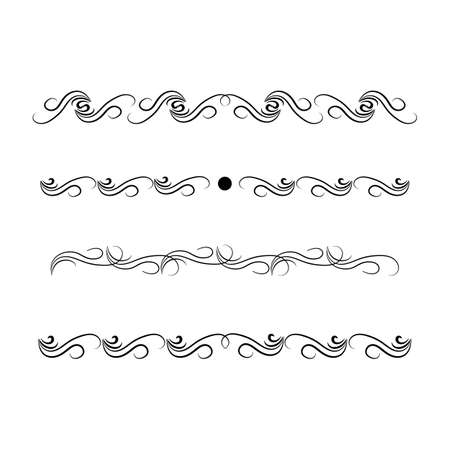 Decorative swirl divider. Elegance line set Vector Çizim