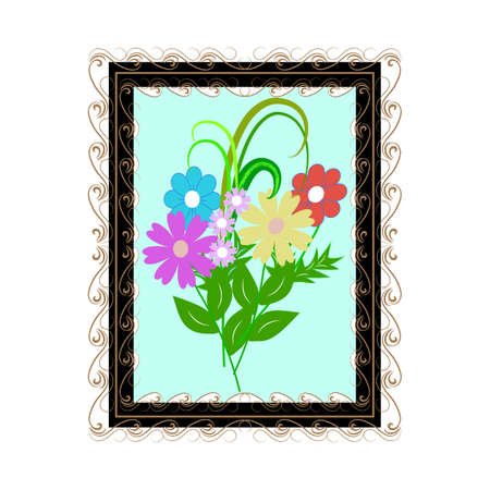 Flowers in square frame for card, border Çizim