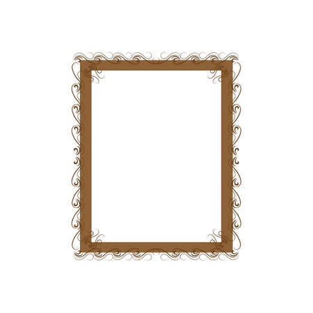 Gold frame with wavy line for photo, blank, prints Çizim