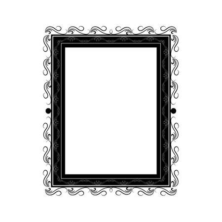 Monochrome frame with wavy line for pfoto.