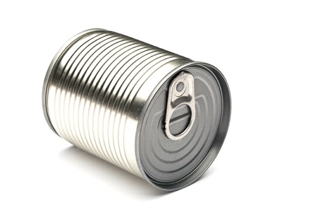 canned food: tin of canned food on a white background