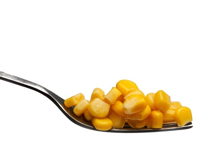 canned yellow corn on a fork over white background picture photo