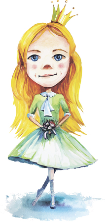 Vector illustration of little princess with flowers made in watercolor technique