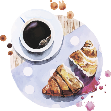 coffee berry: Vector illustration of cup of coffee with berry croissant made in watercolor technique Illustration