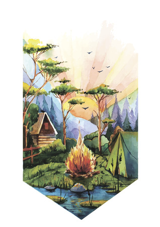 pleasent: Vector illustration of pleasent moment in nature with dawn, fire and tent made in watercolor technique