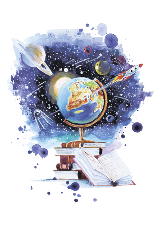 Vector illustration about the usefulness of books and the opportunity to open your universe made in watercolor technique