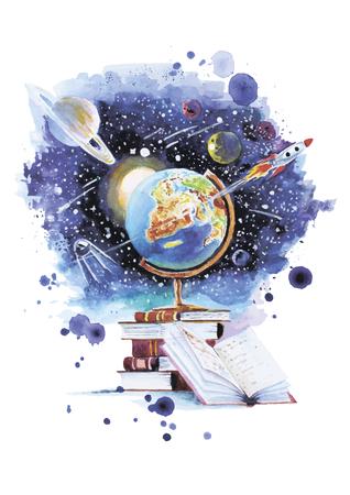 Vector ilustración de la utilidad de los libros y la oportunidad de abrir su universo hecho en técnica de la acuarela
