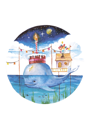 Vector illustration of cute whale and happy birthday moment made in watercolor technique
