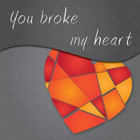 broken heart on grey background Vector