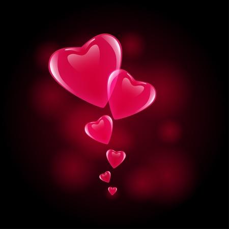 designed heart on black background Stock Vector - 12162755