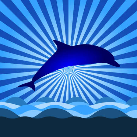 wather: shine on the sky with dolphin Illustration