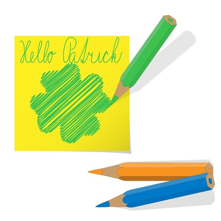 sticky note with four-leaf and pastels Vector