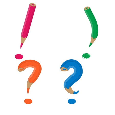 pastels as a exclamation mark and question mark Vector