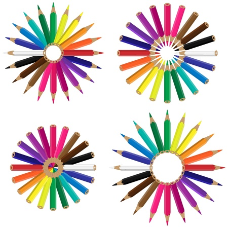 lila: set of multicolored pastels in a circle