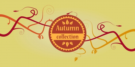 Colored autumn collection text with branches  Vector illustration  Vector
