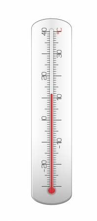 Grey thermometer with dark and red numbers  Vector illustration