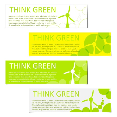 environmental awareness: eco green colored banners with wind plant Illustration