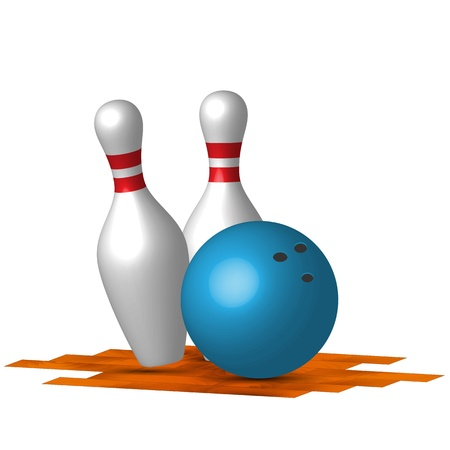 bowling alley: two bowling pins with blue bowling ball