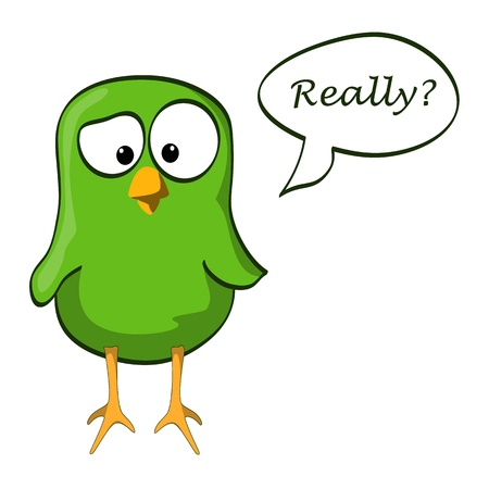 little green bird doubt with speech bubble Vector