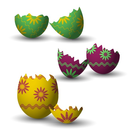 colored collection of broken easter eggs with shadow Vector
