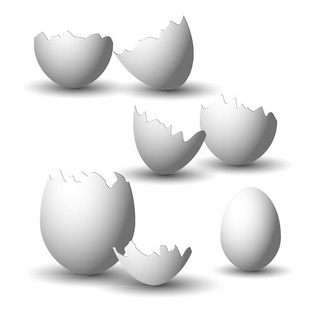 collection of white broken easter eggs with shadow Vector