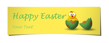 yellow and green easter banner with broken egg and little chicken Vector