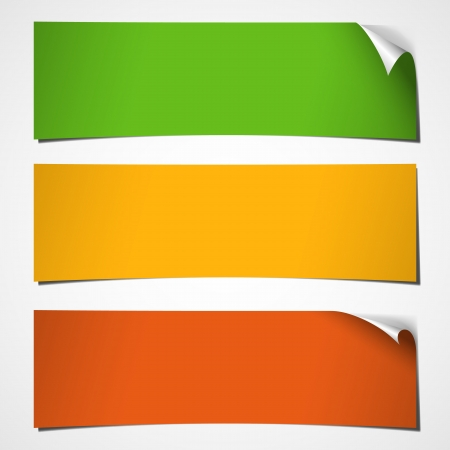 three autumn colored banners with curled corner