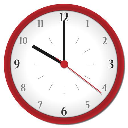 shadowed: plastic shadowed red clock with arabic numbers