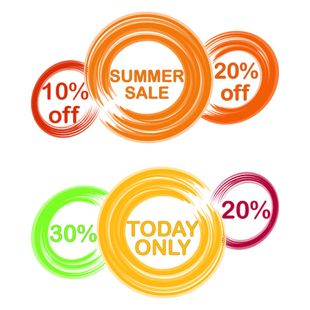 colored circles with text and discounts painted with brush
