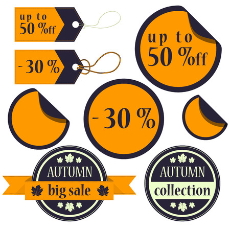 flat colored autumn collection of stickers and cedules with text  Vector