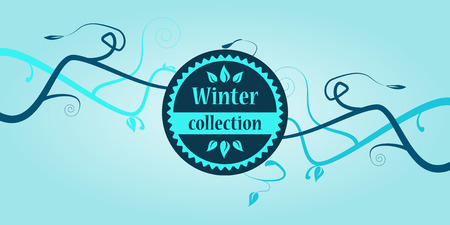 colored winter collection text with branches Vector