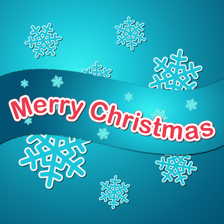 blue colored merry christmas card with snowflakes Vector