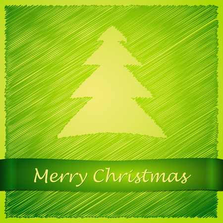 scribbled: scribbled merry christmas tree with text on the green background