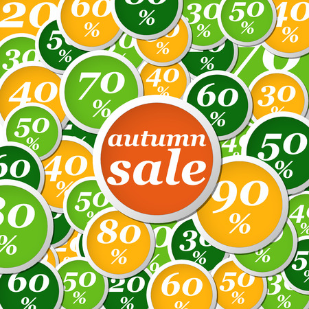 flat orange, yellow and green circle labels with discounts and text Vector