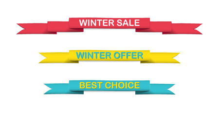 set of yellow, blue and red band, colored strips with text winter sale, winter offer and best choice Vector