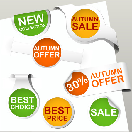 set of green, orange and yellow colored paper bookmarks and labels for autumn with text new collection, autumn sale and offer, best choice and price Vector