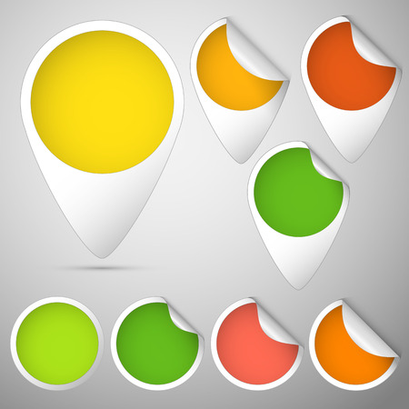set of three curled tag and circles colored green, yellow, red, orange for autumn Vector