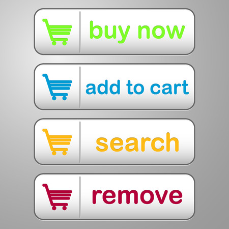 checkout button: collection of four colored buttons with text buy now, add to cart, search and remove Illustration