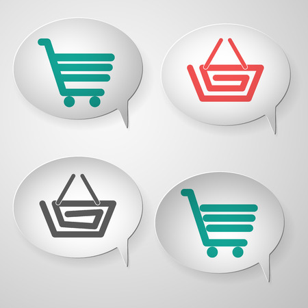 collection of blank white speech curled bubble with shadow and colored cart and basket icon Vector