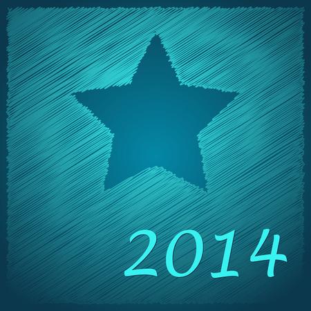 estrella azul: garabateado estrella azul feliz a�o nuevo en el fondo azul