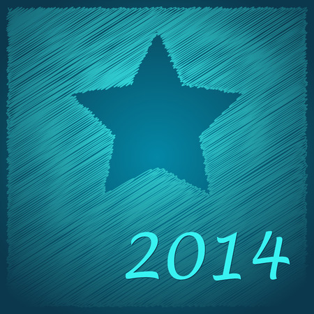 scribbled happy new year blue star on the blue background Vector