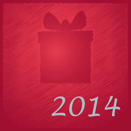 scribbled happy new year red gift on  red background Vector
