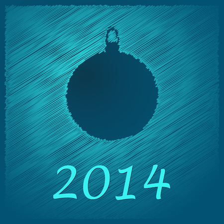 scribbled: scribbled happy new year blue ball with text on the blue background