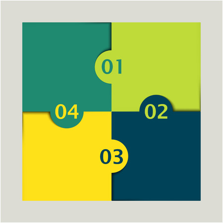 yellow and green colored puzzle infographic with numbers one, two, three and four Vector