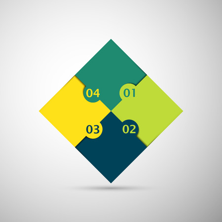 yellow and green colored puzzle infographic concept with numbers Vector
