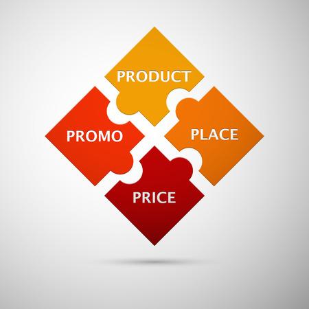 naranja y rojo concepto infograf�a puzzle color con la sombra como una mezcla de marketing con el producto de texto, promo, lugar y precio