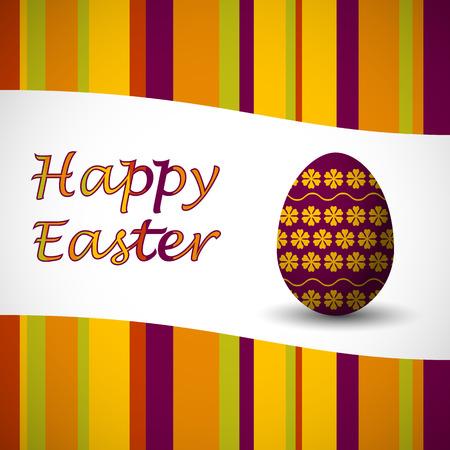 verde y morado: color tarjeta de Pascua feliz verde, morado, amarillo y naranja con franjas y arte drowed huevo de Pascua