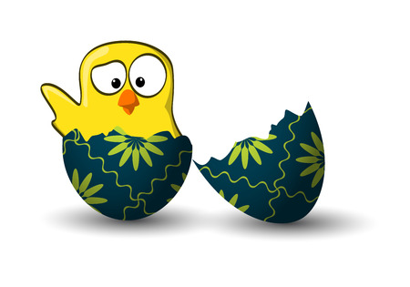 waving small yellow chicken in a green broken easter egg Vector