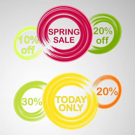 circles with text and discounts painted with brush colored for spring