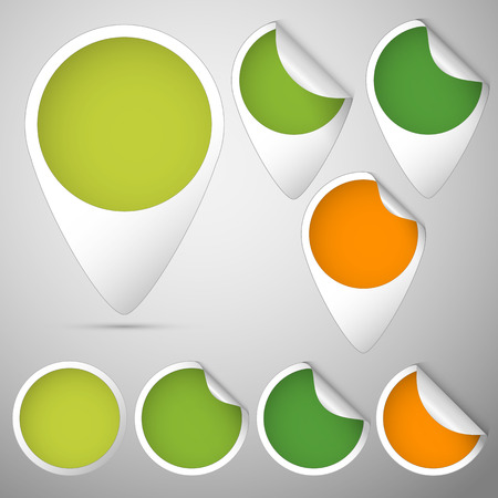 set of curled tags and circles colored green and orange for spring Vector